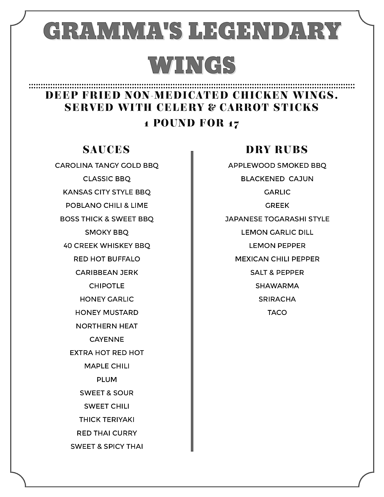 Gramma's Pub - Wings Menu